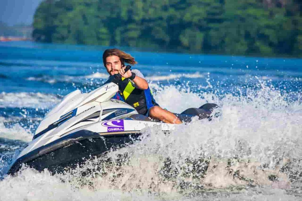 picture of a person wearing a life jacket on Jet Ski